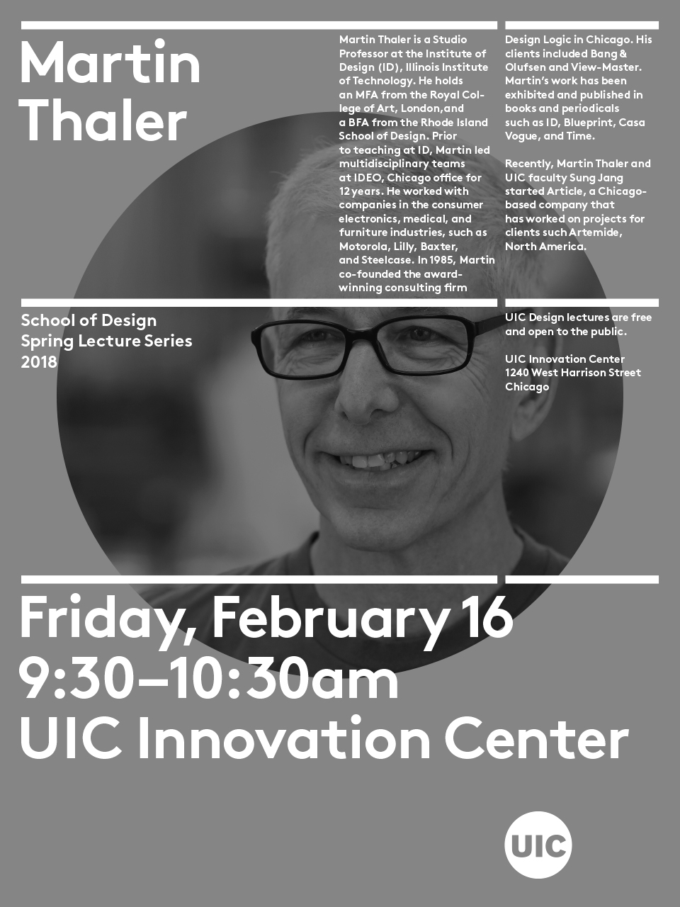 Spring lecture series martin thaler uic school of design martin thaler is a studio professor at the institute of design id illinois institute of technology he holds an mfa from the royal college of art malvernweather Images